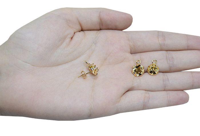Caixa Click para Brinco Strass Zircônia e Cristais Tamanhos Variados F. a Ouro - Par - CX_130  - ArtStones