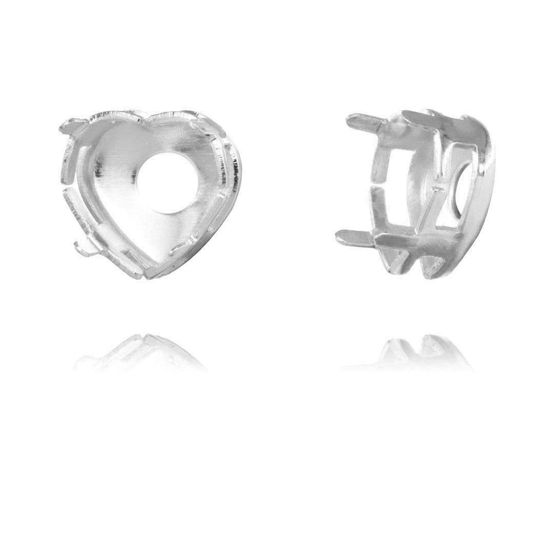 Caixa Coração com Fundo Vazado 8mm Folheada - 04 Peças  - FO394  - ArtStones