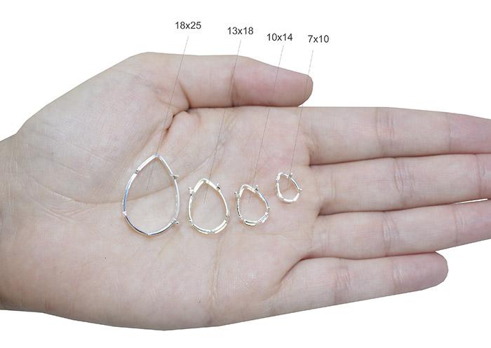 Caixa em Prata 925 Gota 8x10mm Cristais e Pedras  - 01 Peça - PR141  - ArtStones