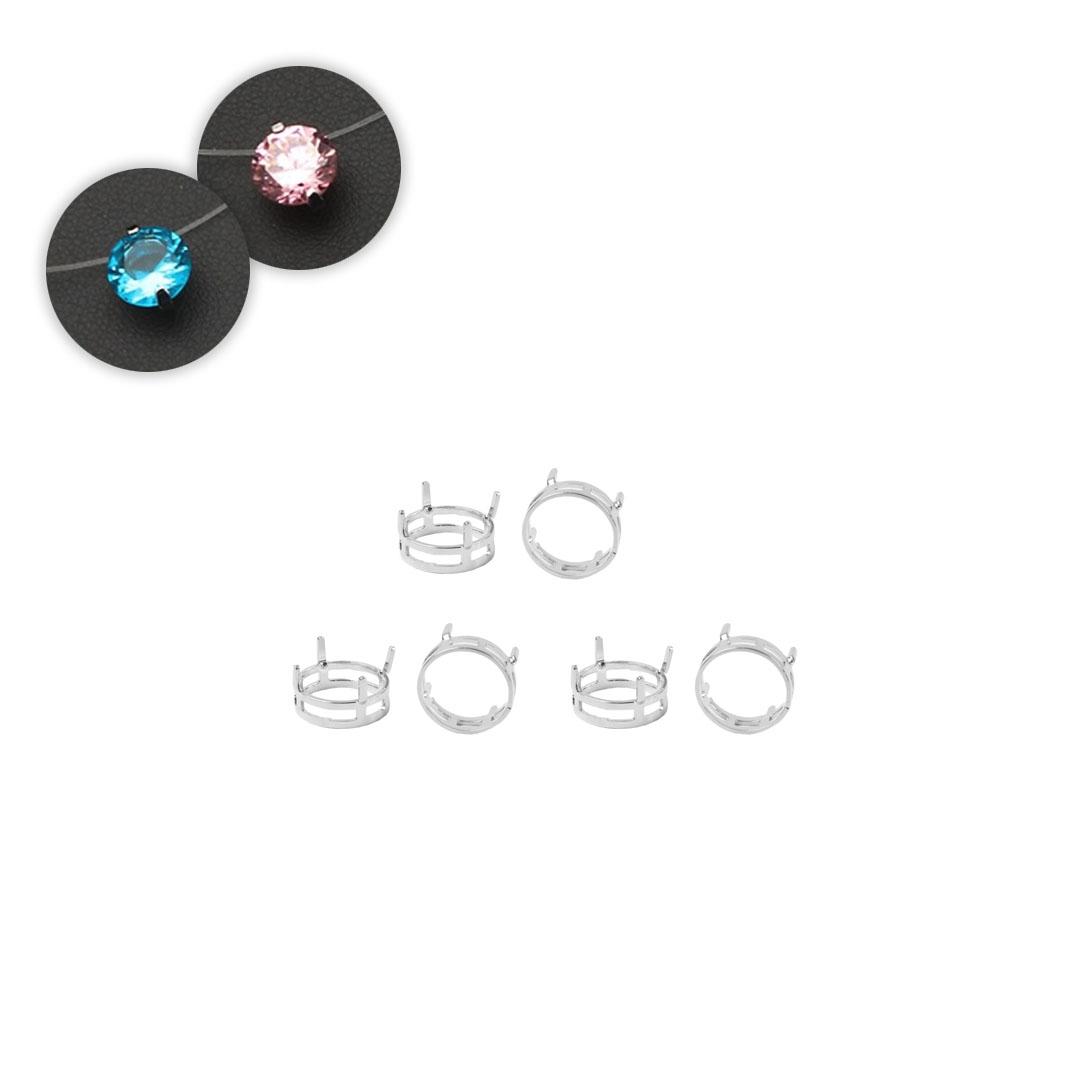 Caixa em Prata 925 Redonda 6mm Para Cristais e Zircônias  - 01 Peça - PR129  - ArtStones
