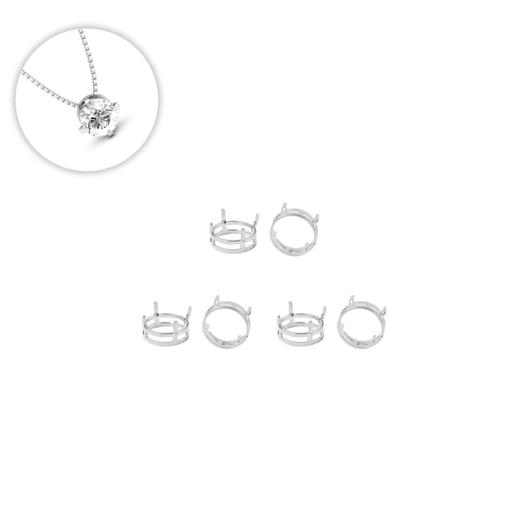 Caixa em Prata 925 Redonda 10mm para Cristais e Zircônias  - 01 Peça - PR131  - ArtStones