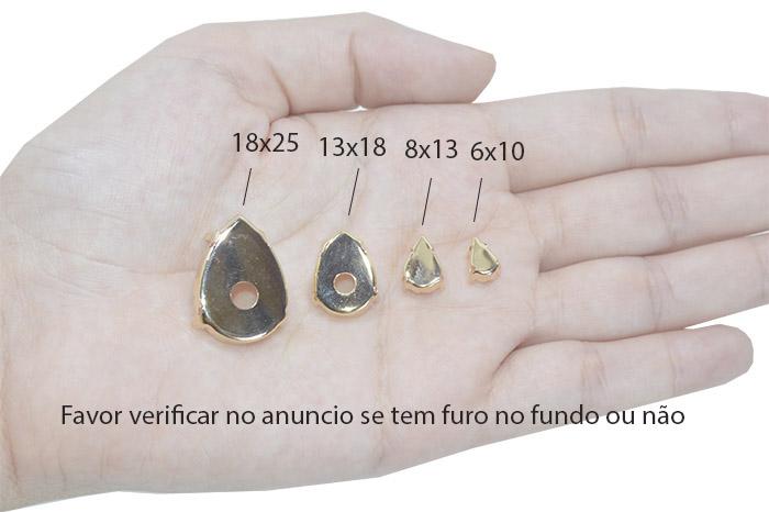 Caixa Engrampada Gota Folheada 13x18mm  - 02 Peças - FO359  - ArtStones