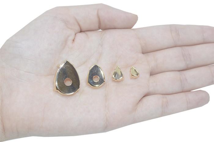 Caixa Engrampada Gota Tamanhos Variados F. Ouro - Pacote - CXE_108  - ArtStones