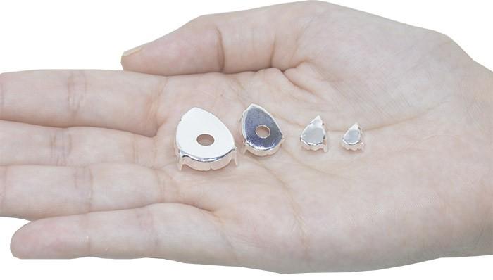 Caixa Engrampada Gota Tamanhos Variados F. Prata - Pacote - CXE_208  - ArtStones