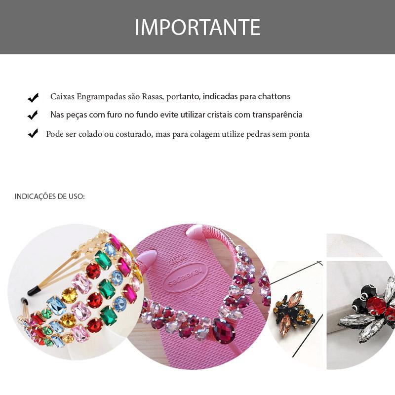 Caixa Engrampada Navete Folheada 7x15mm  - 04 Peças - FO365  - ArtStones