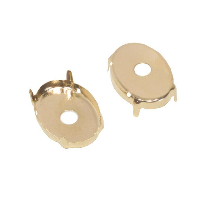 Caixa Engrampada Oval Folheada 18x25mm  - 02 Peças - FO366  - ArtStones