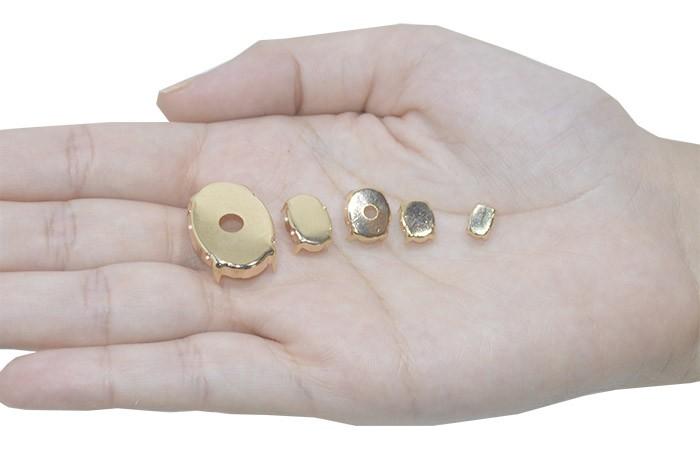 Caixa Engrampada Oval Tamanhos Variados F. Ouro - Pacote - CXE_109  - ArtStones