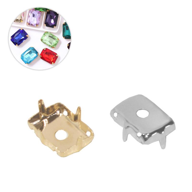 Caixa Engrampada Retangular Folheada 8x10mm  - 04 Peças - FO360  - ArtStones