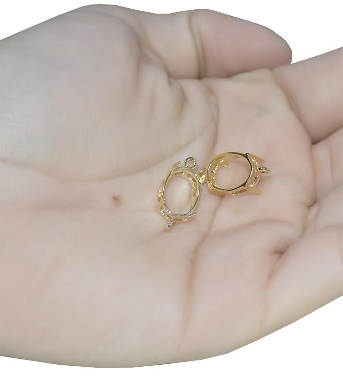 Caixa Galeria Oval 02 Argolas para Pedras 10x14mm F. a Ouro - 1 Peça - CX_104  - ArtStones