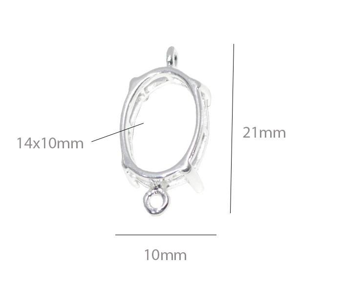 Caixa Galeria Oval com Garras e 02 Argolas 14x10mm Folheada a Prata - 1 Peça - CXF_102  - ArtStones