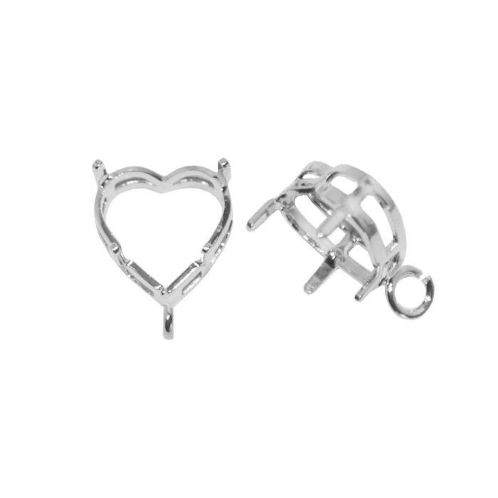 Caixa Coração para Pedras 10mm F. a Prata - 2 Peças - CXFO_113  - ArtStones