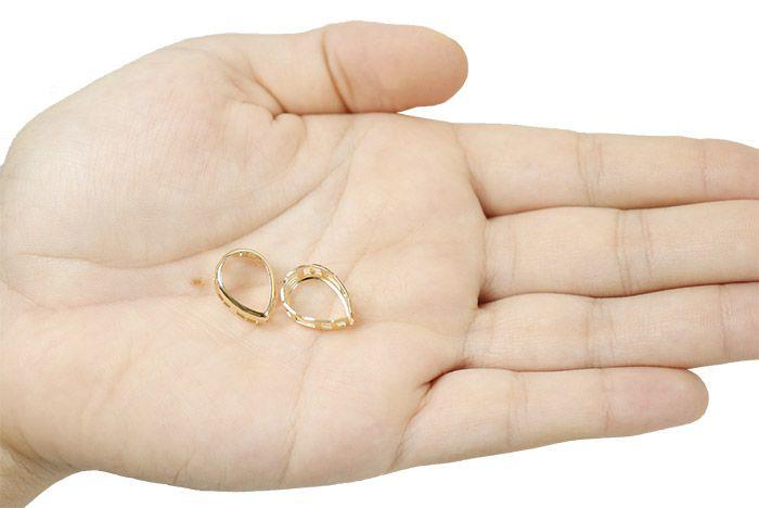 Caixa Galeria Gota com Borda 10x14mm - PAR -  F. a Ouro - CX_212  - ArtStones