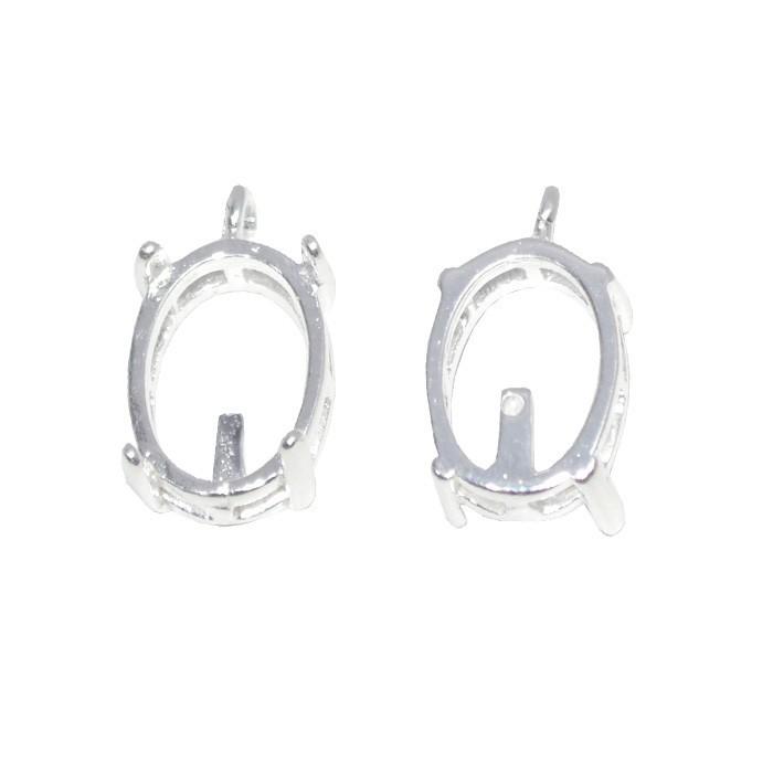Caixa Galeria Oval com Garras 10x14mm F. a Prata - 1 peça - CXF_100  - ArtStones