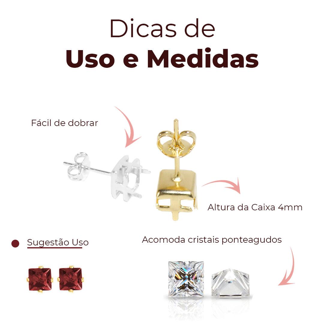 Caixa Galeria Quadrada 6mm Brinco Pino com Fundo Folheada  - 02 Pares - FO398  - ArtStones