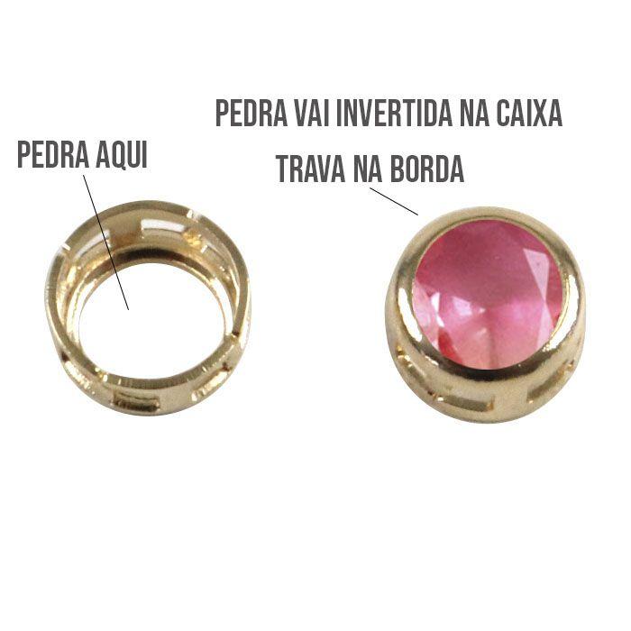 Caixa Galeria Redonda com Borda 6mm - 4 Peças -  F. a Ouro - CX_213  - ArtStones