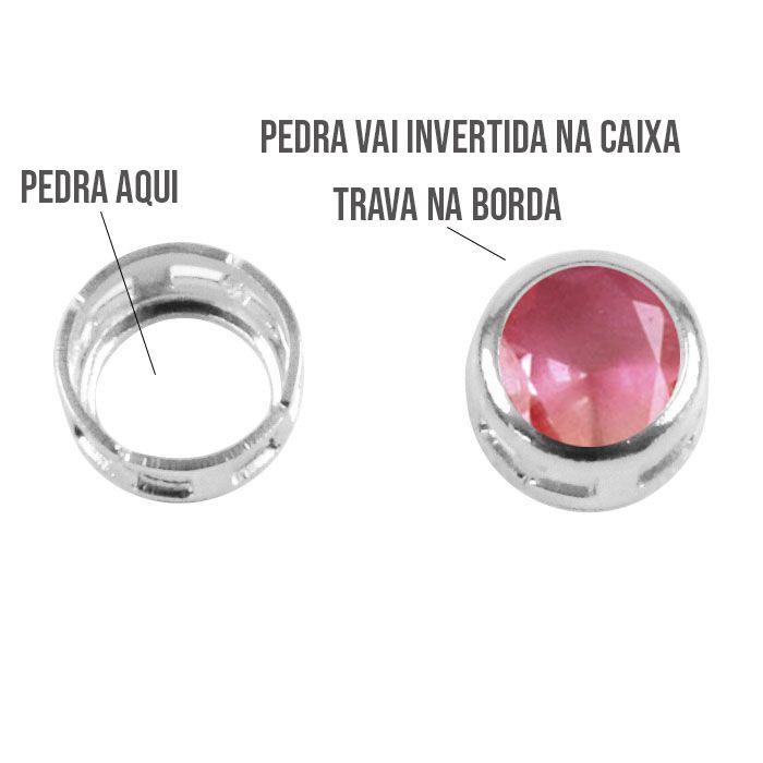 Caixa Redonda com Borda 6mm - 6pcs - F. a Prata - CXFO_212  - ArtStones
