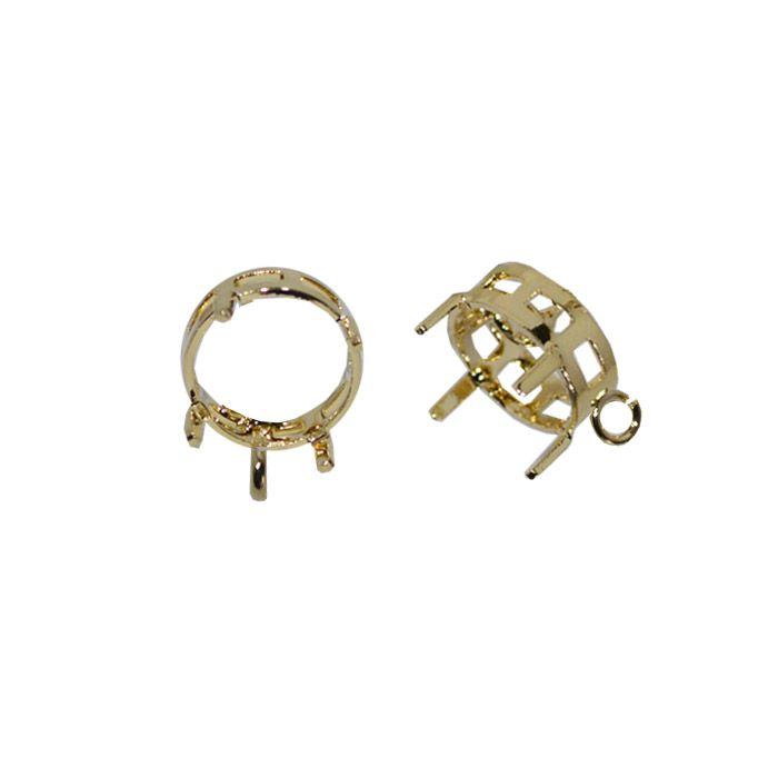 Caixa Redonda com Argola F. a Ouro - Tamanhos Variados - 2 peças - CX_122  - ArtStones