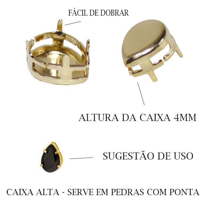 Caixa Gota com Fundo Tamanhos Variados - 4pcs -  F. a Ouro - CX_302  - ArtStones