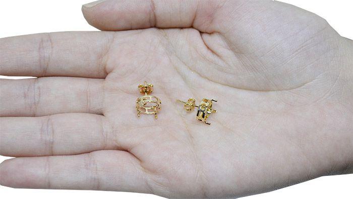 Caixa Brinco para Pedra Oval F. a Ouro - Tamanhos Variados - Par - CX_201  - ArtStones