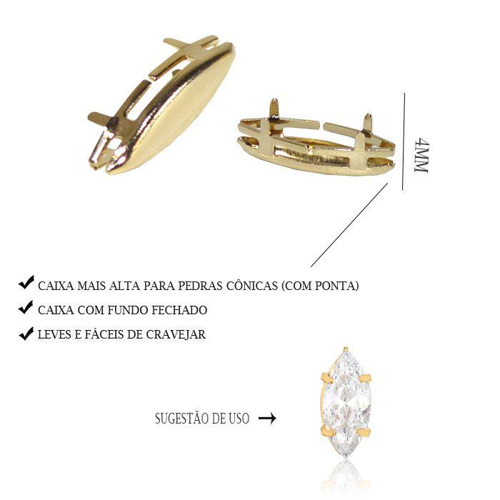 Caixa Navete com Fundo Tamanhos Variados - 4pcs -  F. a Ouro - CX_306  - ArtStones