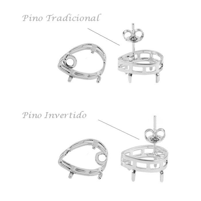 Caixa para Brinco Gota Pino Invertido Folheada 7x10mm - 01 Par - FO482  - ArtStones