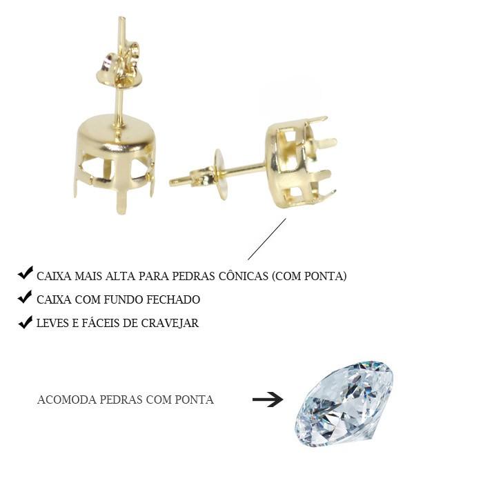 Caixa para Brinco Pedra Redonda 4MM com Fundo Folheada  - 02 Pares - FO296  - ArtStones