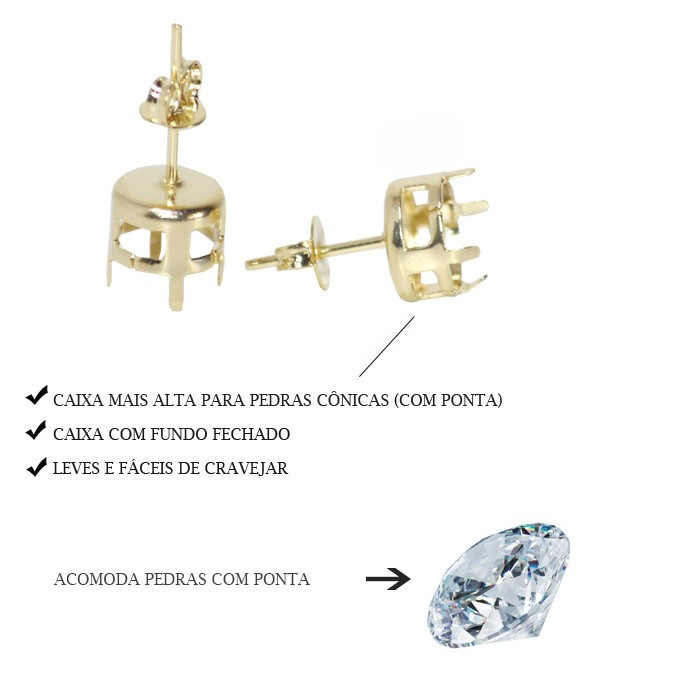 Caixa para Brinco Redonda com Argola 5.5MM com Fundo Folheada  - 02 Pares - FO300  - ArtStones
