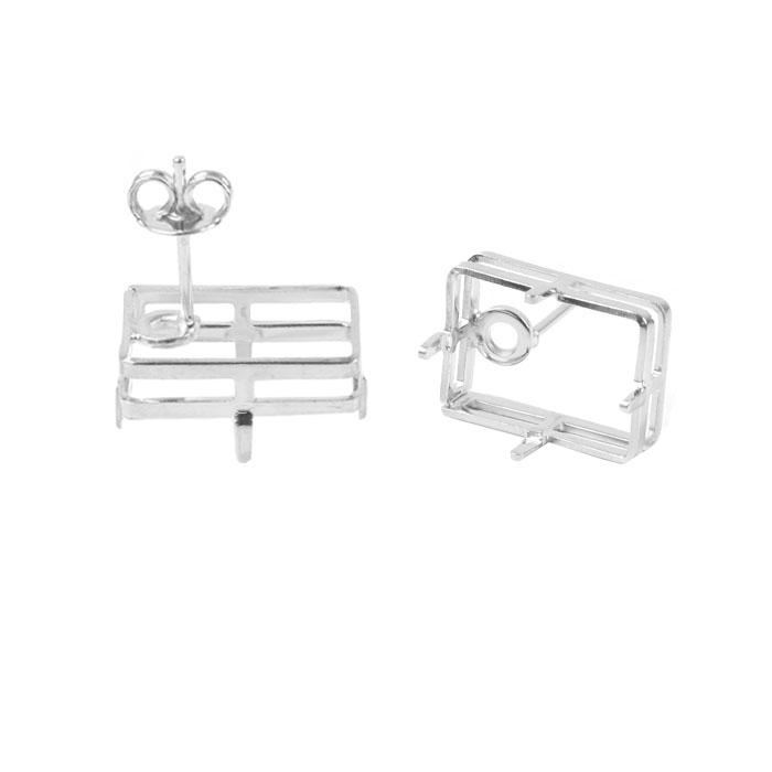 Caixa para Brinco Retangular Folheada 10x14mm - 01 Par - FO333  - ArtStones