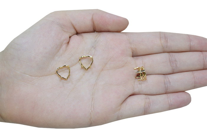 Caixa para Pedra Coração Folheada 12MM - 02 Peças - FO335  - ArtStones