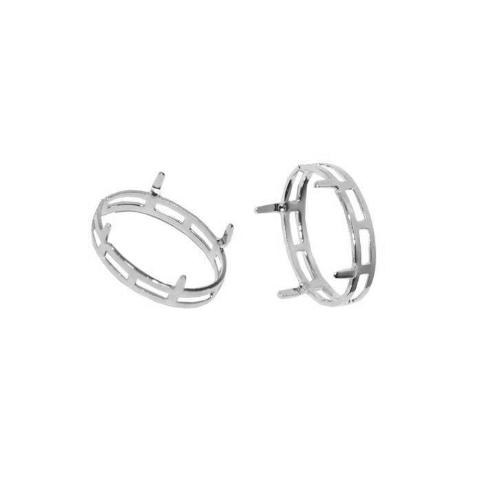 Caixa para Pedra Oval F. a Prata - Tamanhos Variados - 2 Peças - CXFO_103  - ArtStones