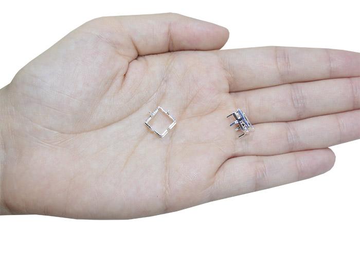 Caixa para Pedra Quadrada Folheada 10mm - 02 Peças - FO337  - ArtStones