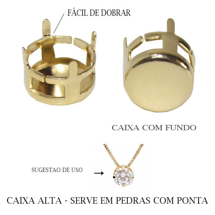 Caixa Redonda Alta com Fundo 8mm Folheada  - 04 Peças - FO288  - ArtStones