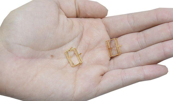 Caixa Retangular para Pedra 10x14mm F. a Ouro - 2 Peças - CX_117  - ArtStones