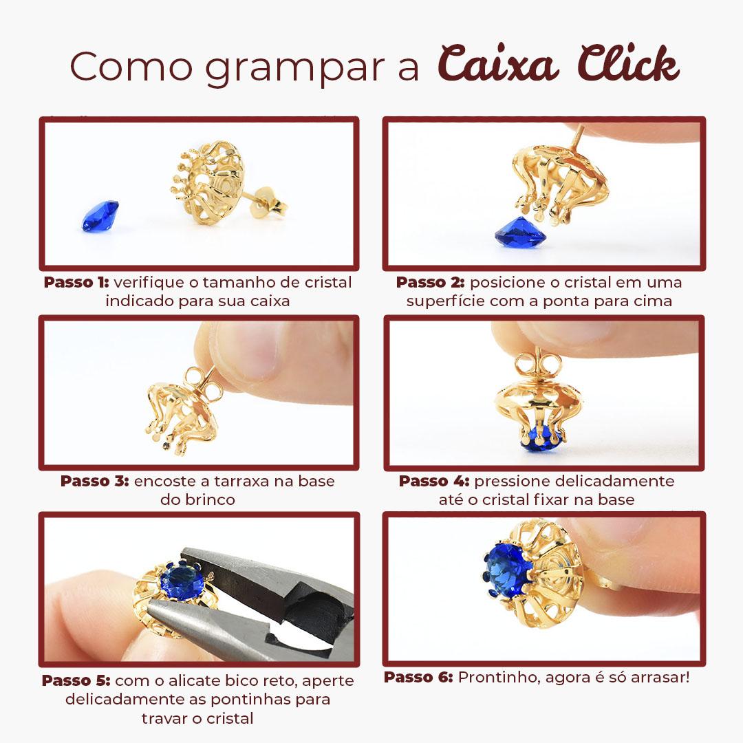 Caixa Tulipa Click para Pérola Bolinha  e Cristal 6mm Folheada - 02 Pares - FO361  - ArtStones
