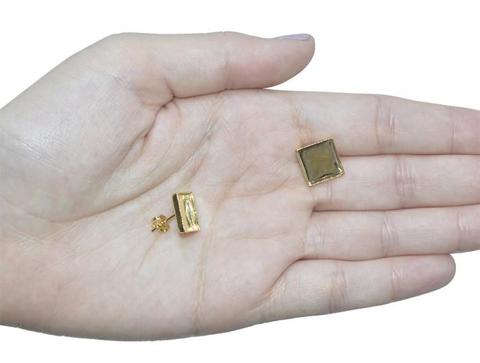 Caixaria para Brinco Quadrada 12x12mm Folheado a Ouro - Par - BA_65FO  - ArtStones