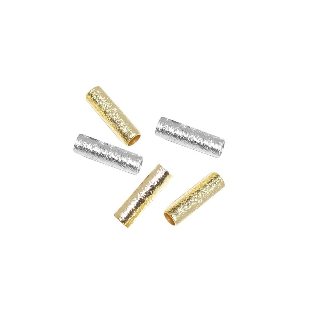 Canutilho Escovado Folheado 10x2.5mm - 2grs - FO116  - ArtStones