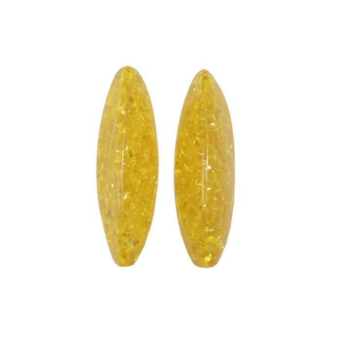 Resina Âmbar Formato Carambola 56x16mm - 2 Peças - OM071  - ArtStones
