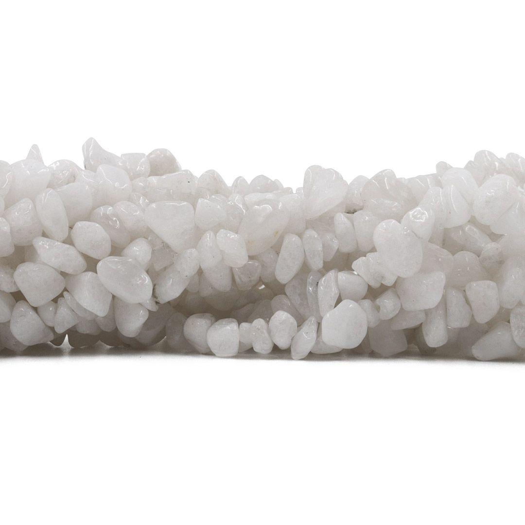 Fio de Cascalho de Calcedônia Natural Branca 35cm - FCA_184  - ArtStones
