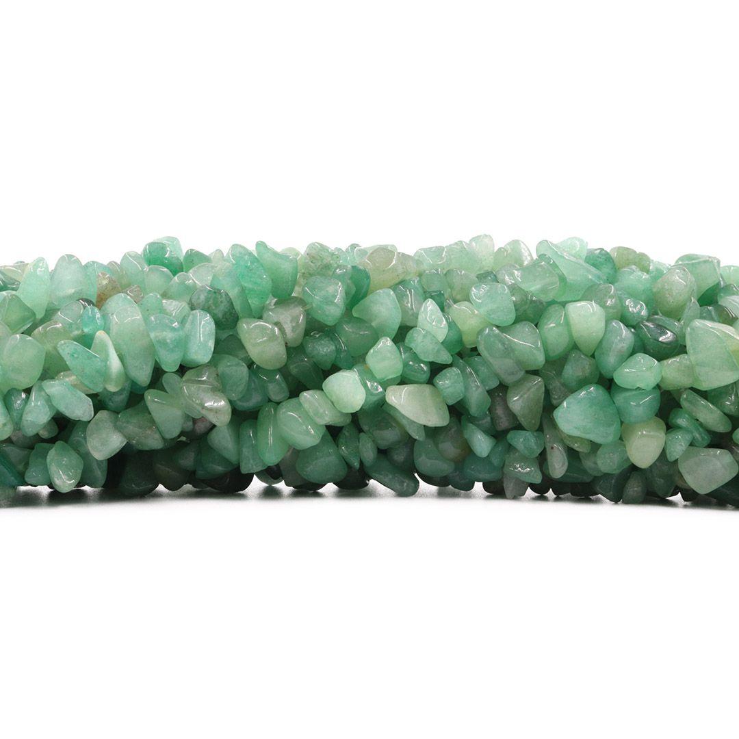 Fio de Cascalho de Quartzo Verde - FC080  - ArtStones