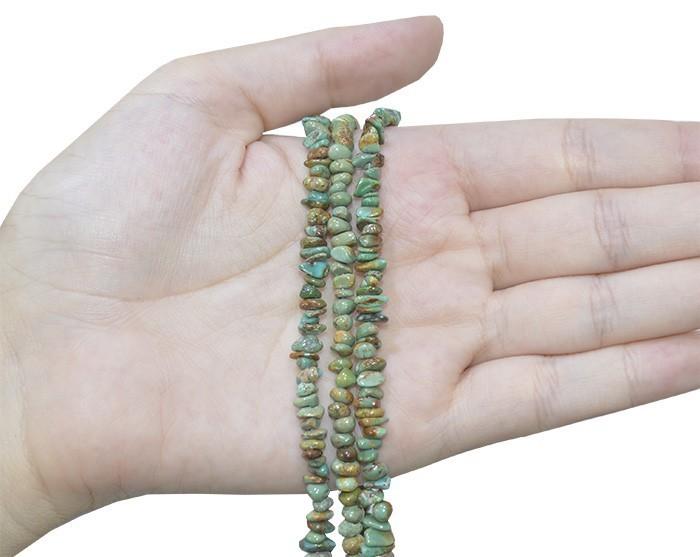 Fio de Cascalho Fino Rolado de Turquesa Verde Piscina - FC062  - ArtStones