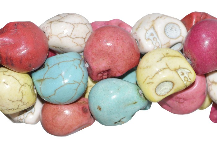 Caveira de Howlita 15x11mm Cores Variadas - 6 Peças - PA046  - ArtStones
