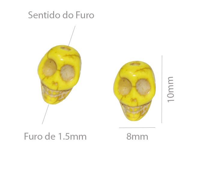 Caveira de Howlita 10x8mm Cores Variadas - 20 Peças - PA028  - ArtStones