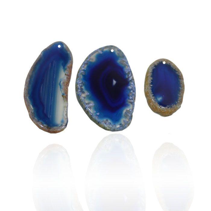 Chapa de Ágata Azul Furada 3 a 5.5cm Bordas Polidas - 1 Peça - AGT_120