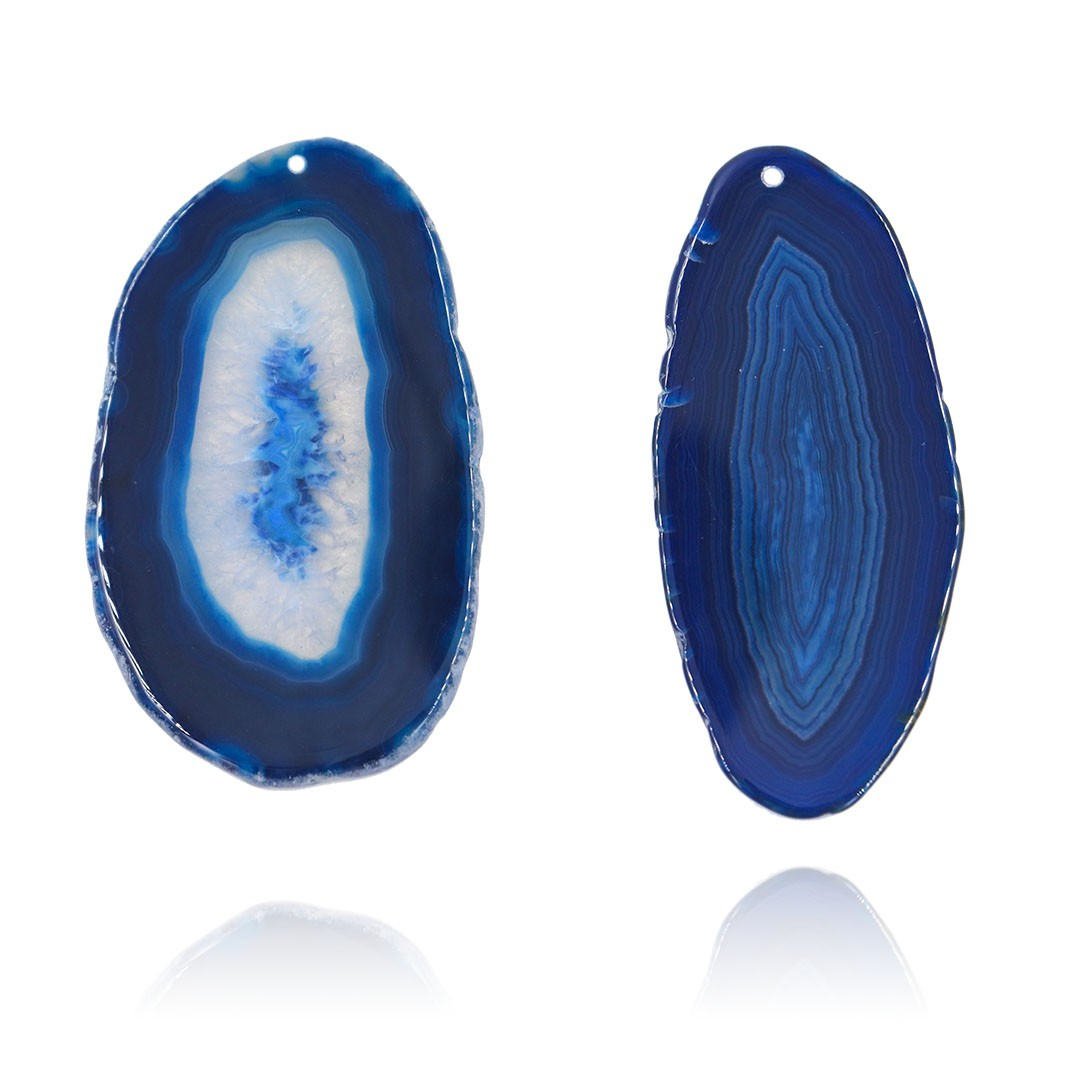 Chapa de Ágata Azul Furada 5 a 6.5cm Bordas Polidas - 1 Peça - AGT007  - ArtStones