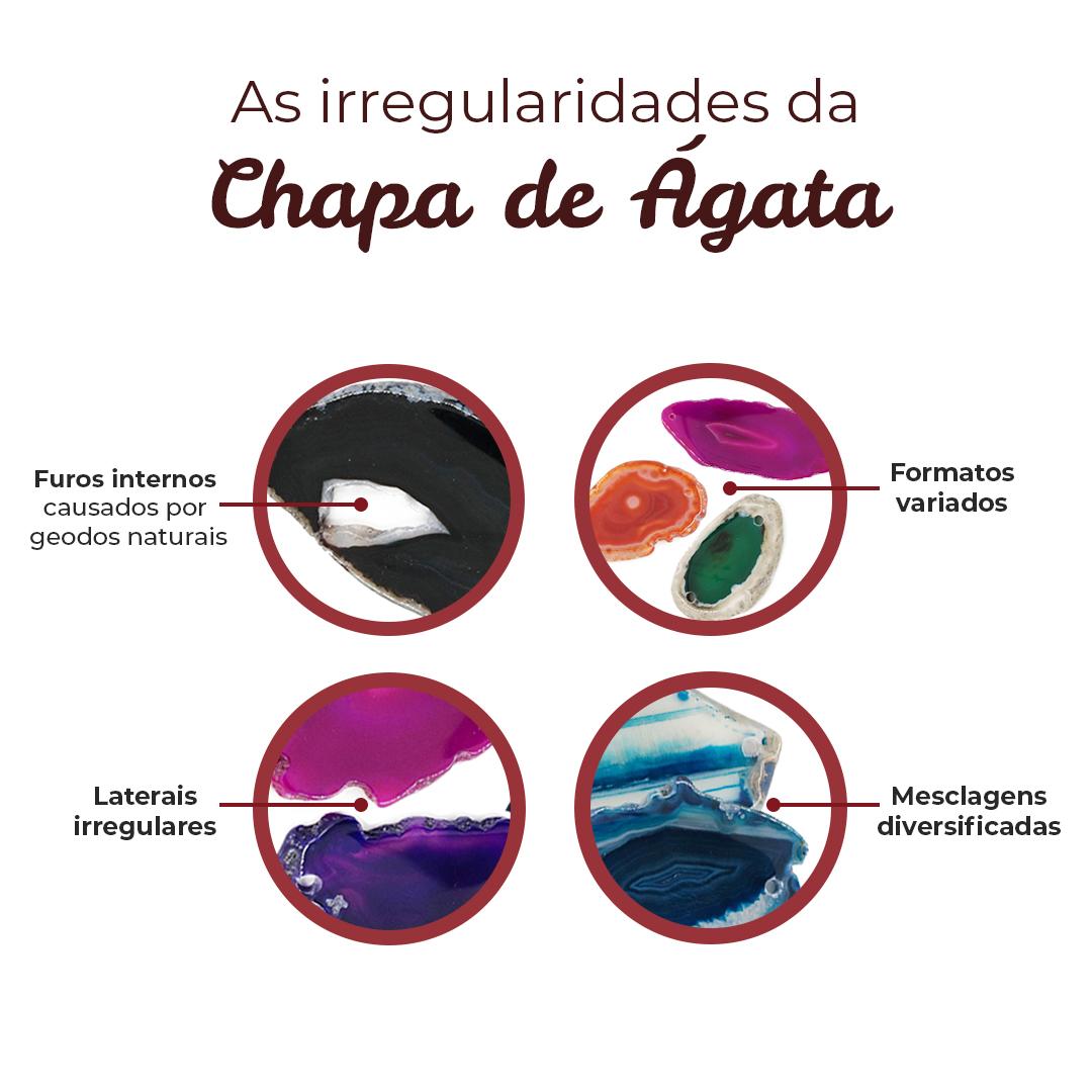 Chapa de Ágata Azul Furada 7 a 8.5cm Bordas Polidas - 1 Peça - AGT002  - ArtStones