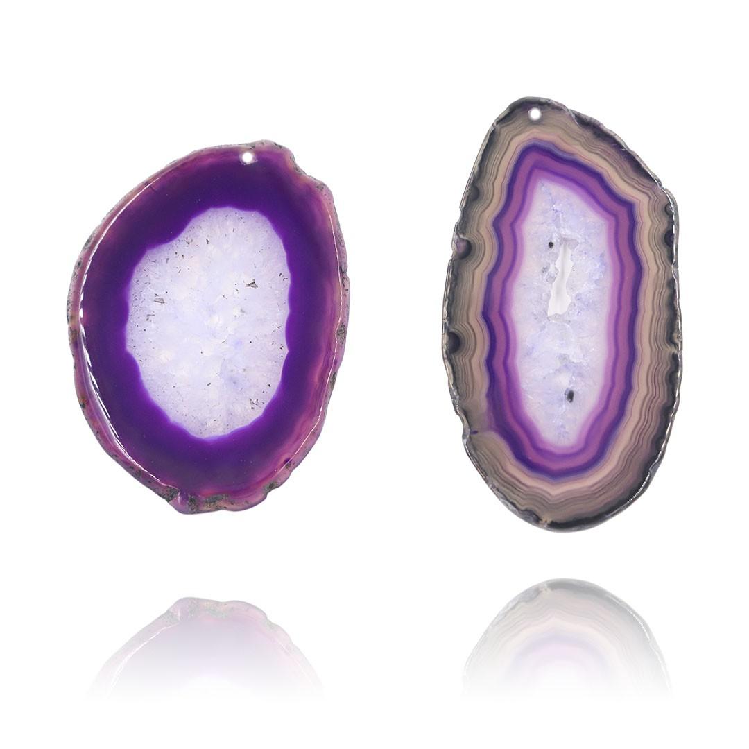 Chapa de Ágata Lilás Furada 5.7 a 7.5cm Bordas Polidas - 1 Peça - AGT003  - ArtStones