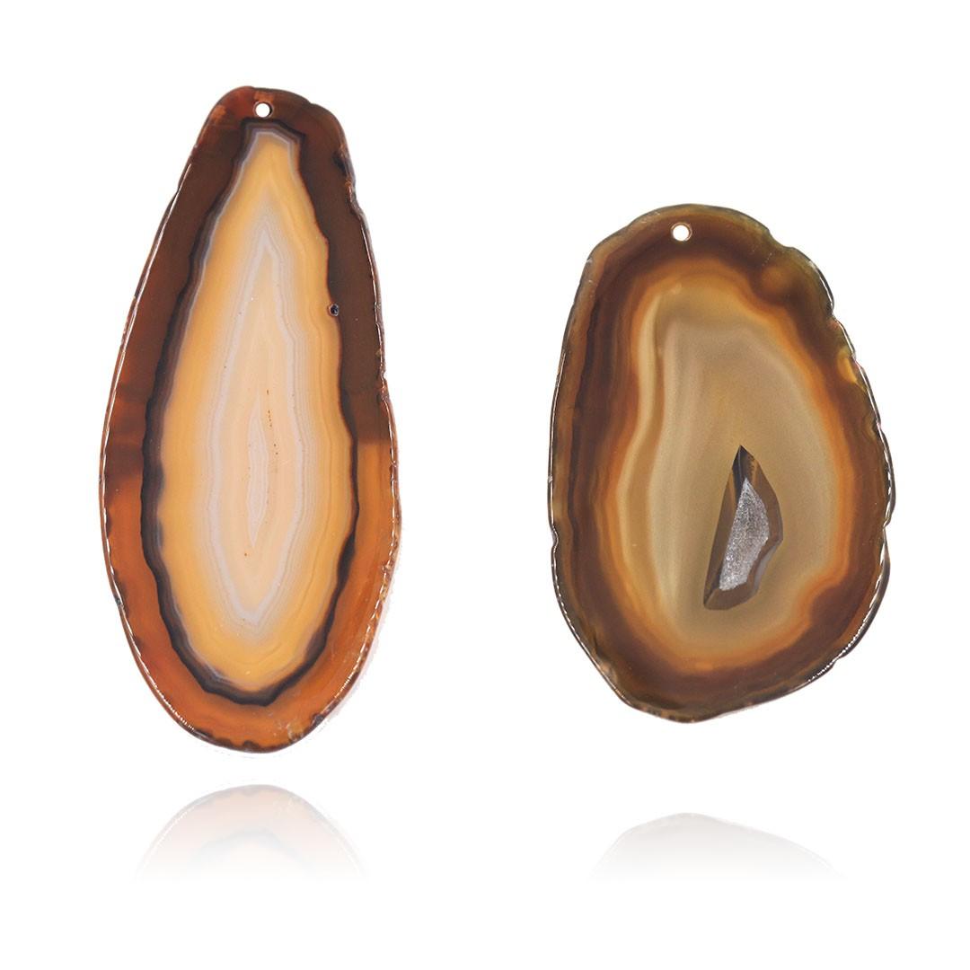 Chapa de Ágata Marrom 6 a 8.5 m Bordas Polidas 01 furo - 1 Peça - AGT008  - ArtStones