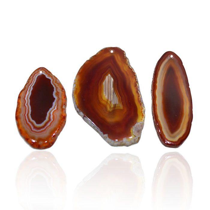 Chapa de Ágata Marrom Furada 5.7 a 7.5cm Bordas Polidas - 1 Peça - AGT_146  - ArtStones
