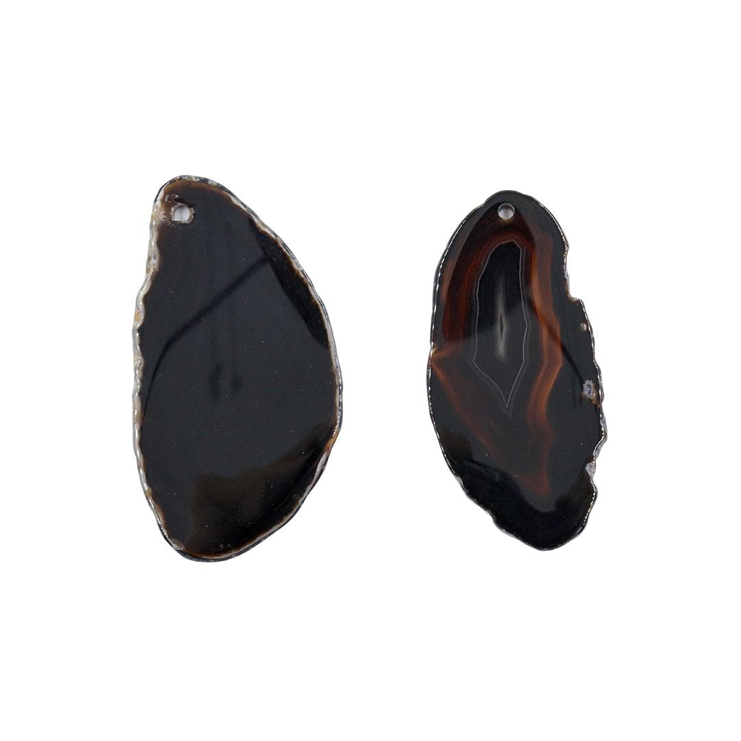 Chapa de Ágata Preta Furada 6 a 8cm - 1 Peça - AGT019  - ArtStones