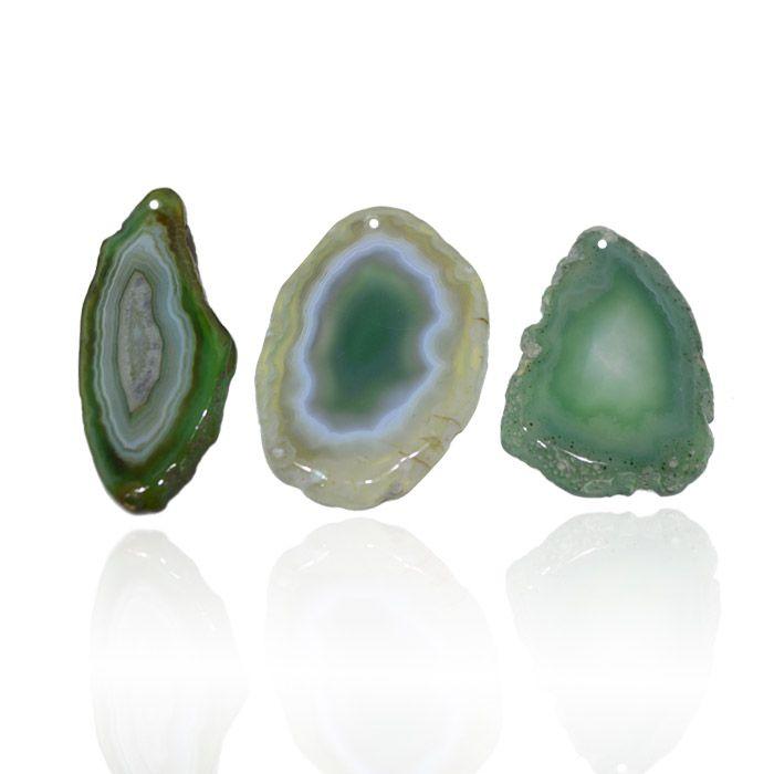Chapa de Ágata Verde Furada com Borda Polida 5 a 8.5 cm - 1 Peça - AGT_114